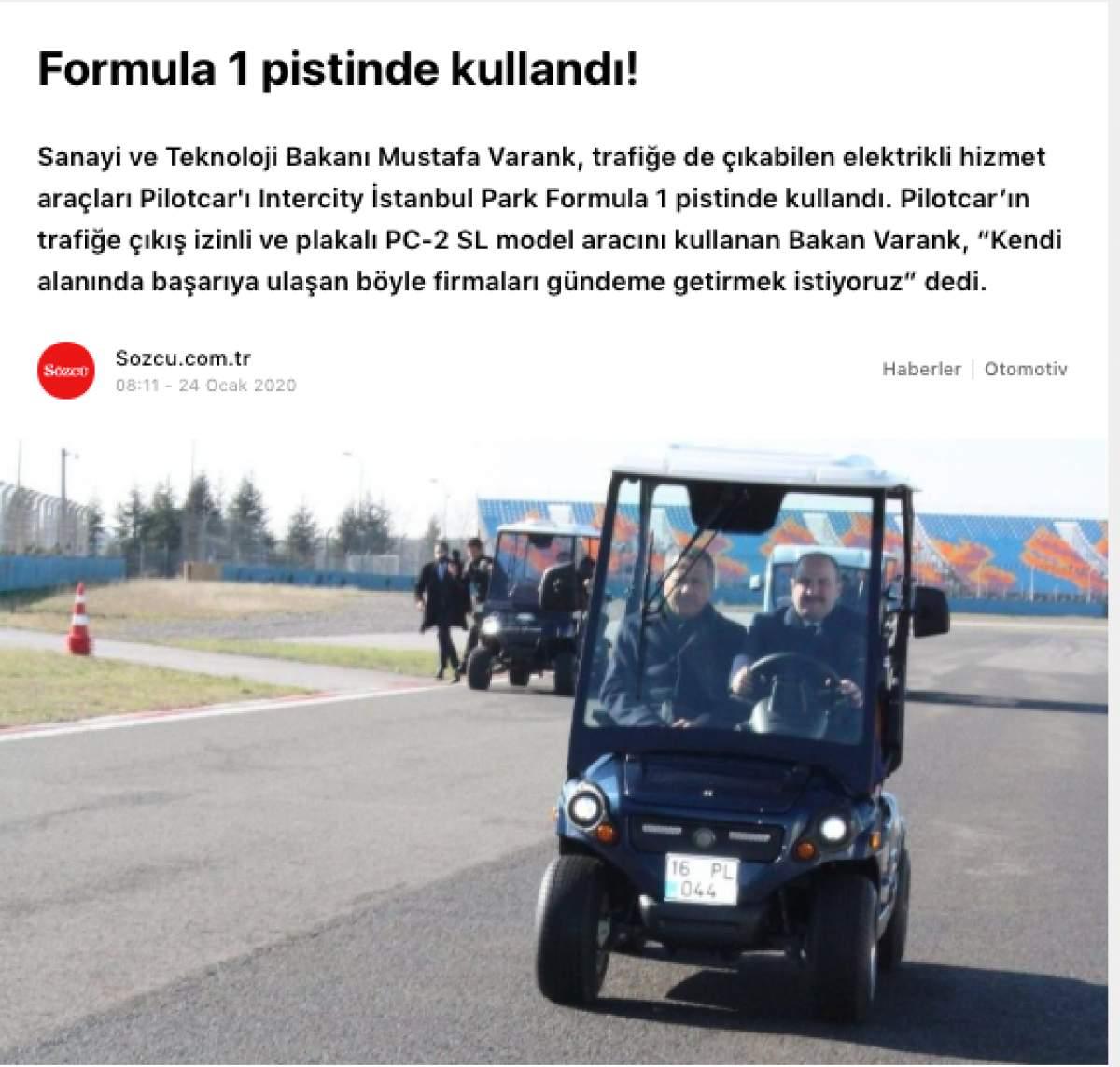 Sanayi ve Teknoloji Bakanı Sayın Mustafa VARANK`tan PILOTCAR`a tam not.