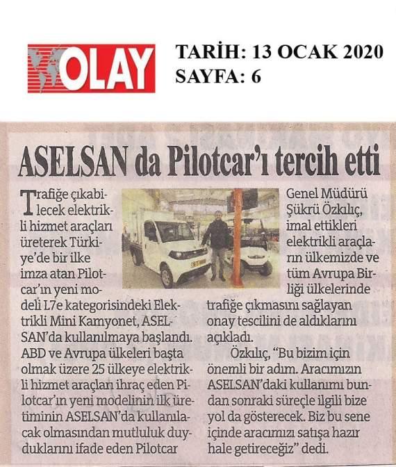 ASELSAN da Pilotcar'ı tercih etti…