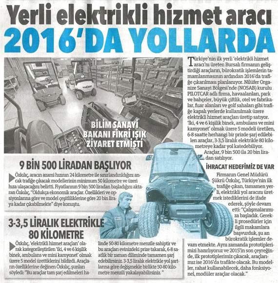 Yeni Elektrikli Aracımız 2016`da Yollarda